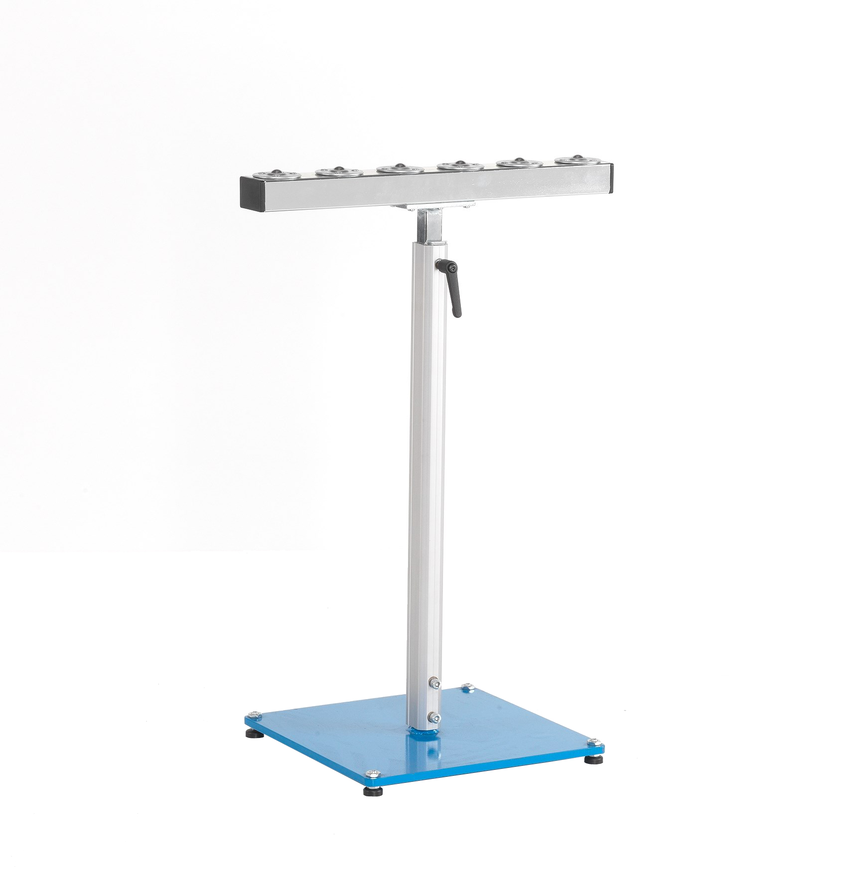 Material support stand with ball roller rail with 6 ball rollers