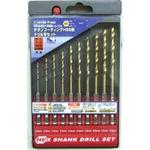 Hex Axis HSS Steel Titanium Drill Bit Set (10 Pieces Set)