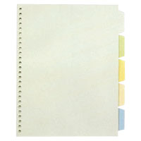 Transparent Index Pocket, Standard: B5 Size Portrait Type; Number of Holes: 26; Specifications: 5 Colors / 5 Tabs / 5 Sheets / 1 Set