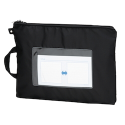 Mail Bag, W Fastener without Gusset, Black Standard: B4 Size, Outer Dimension: Vertical 340 x Horizontal 440 mm