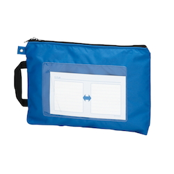 Mail Bag, W Fastener without Gusset, Blue Standard: A4 Size, Outer Dimension: Vertical 260 x Horizontal 370 mm