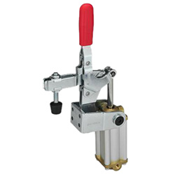 Pneumatic toggle clamps with additional manual operation