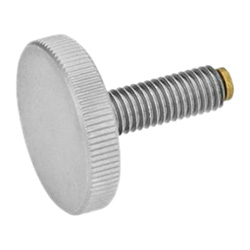Stainless Steel-Flat knurled screws with brass / plastic pivot