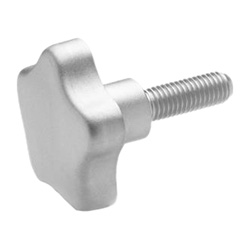 Stainless Steel-Star knobs with threaded bolt AISI 316L (A4)