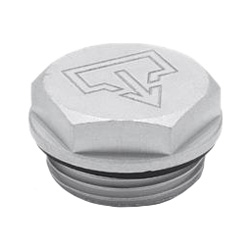 Threaded plugs with and without symbols, Aluminium, resistant up to 100°C, blank