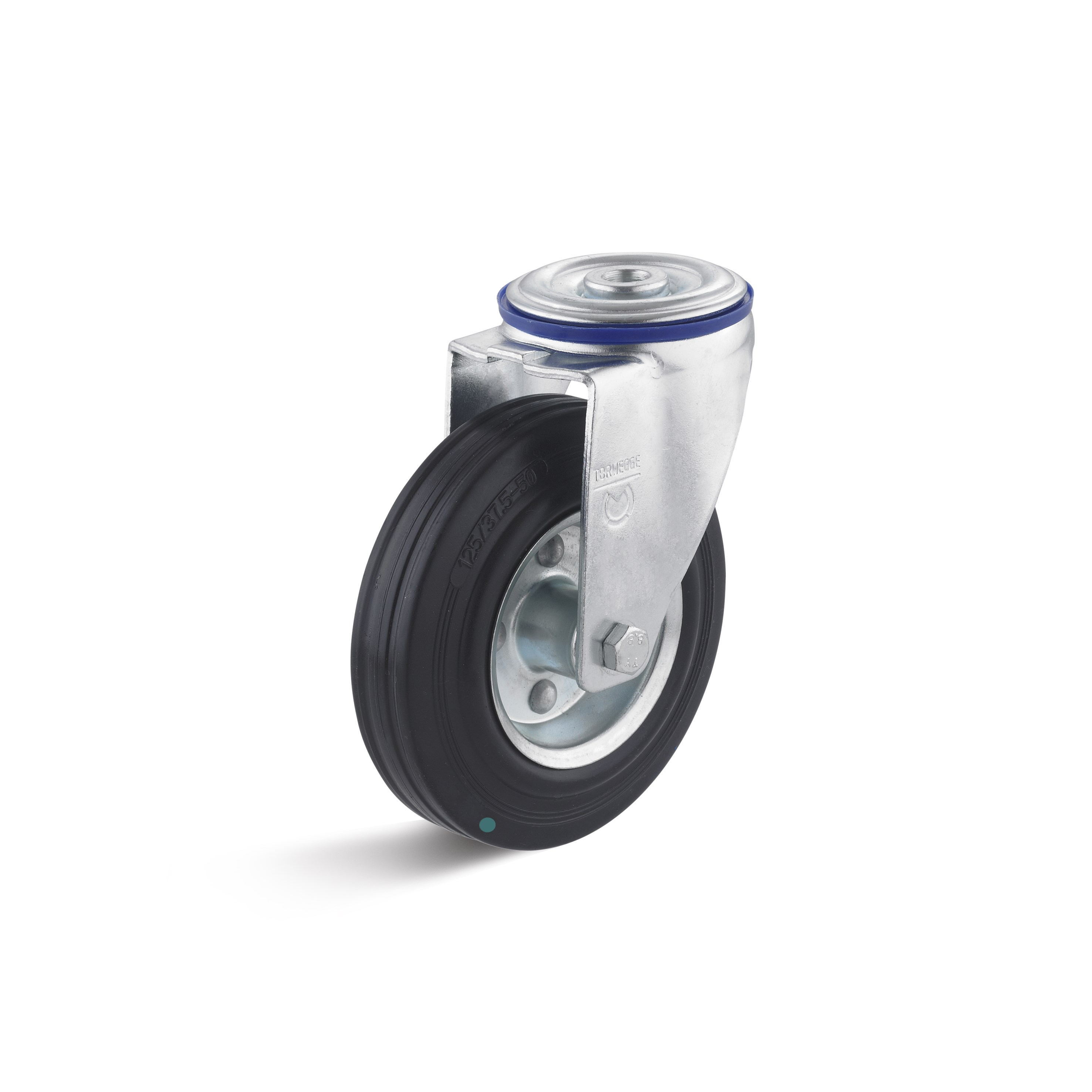 Swivel castor with back hole and solid rubber wheel