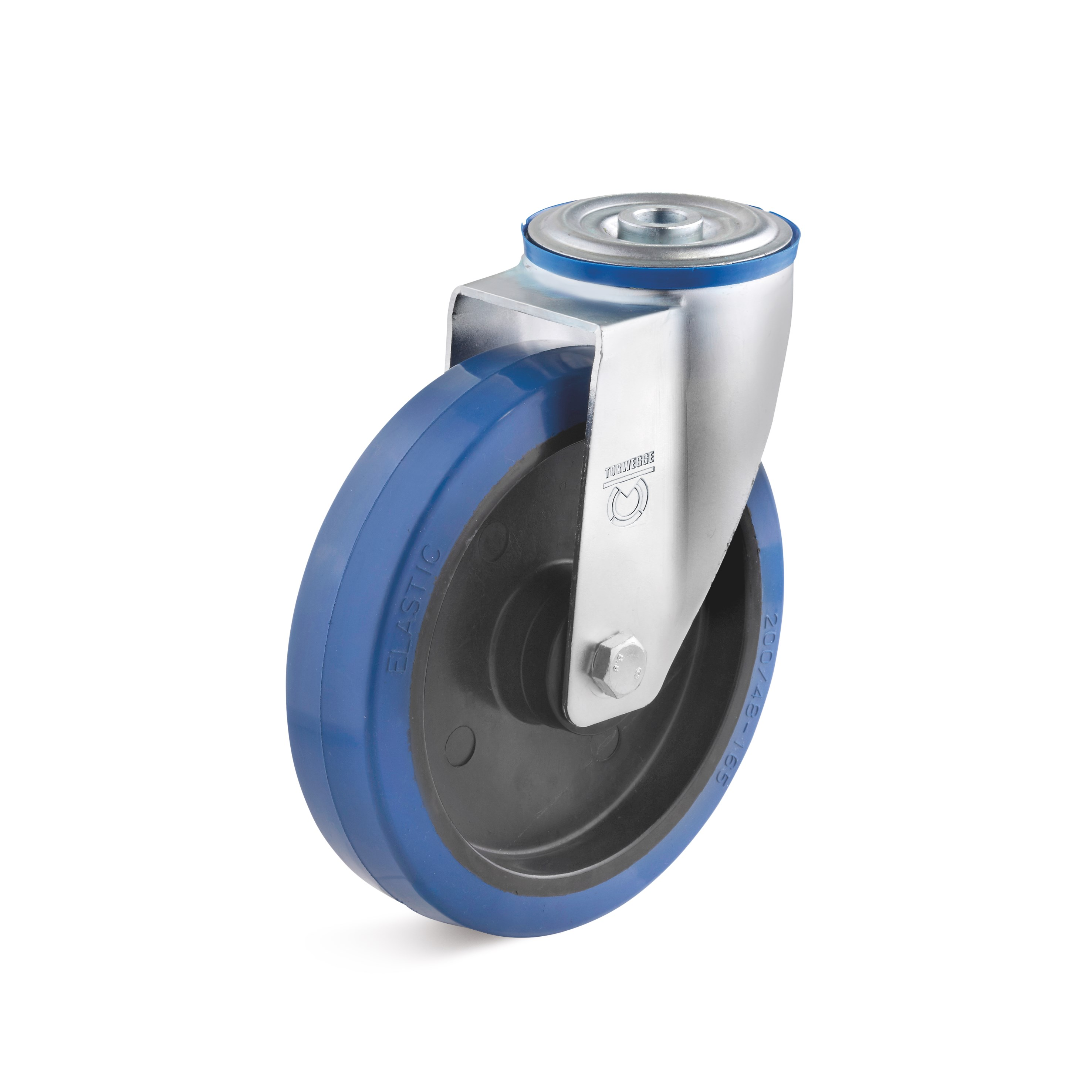 Swivel castor with back hole and elastic solid rubber wheel