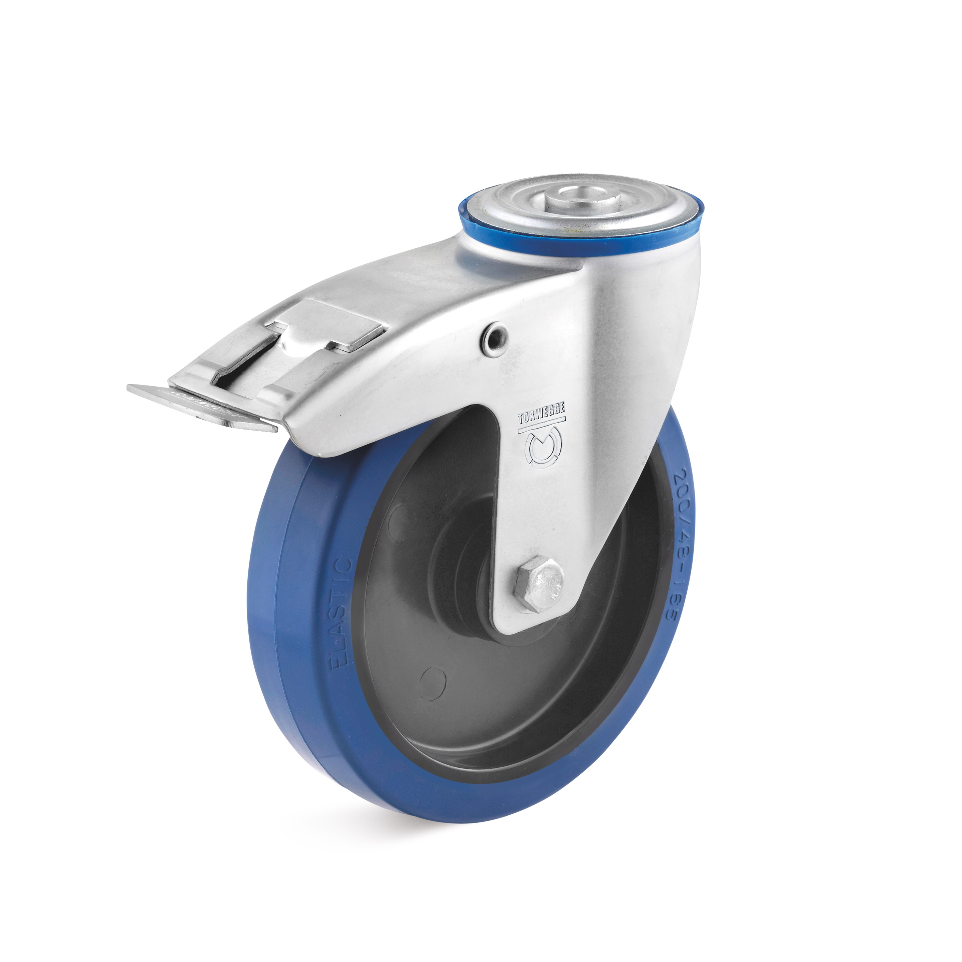 Swivel castor with back hole and double stop with elastic wheel