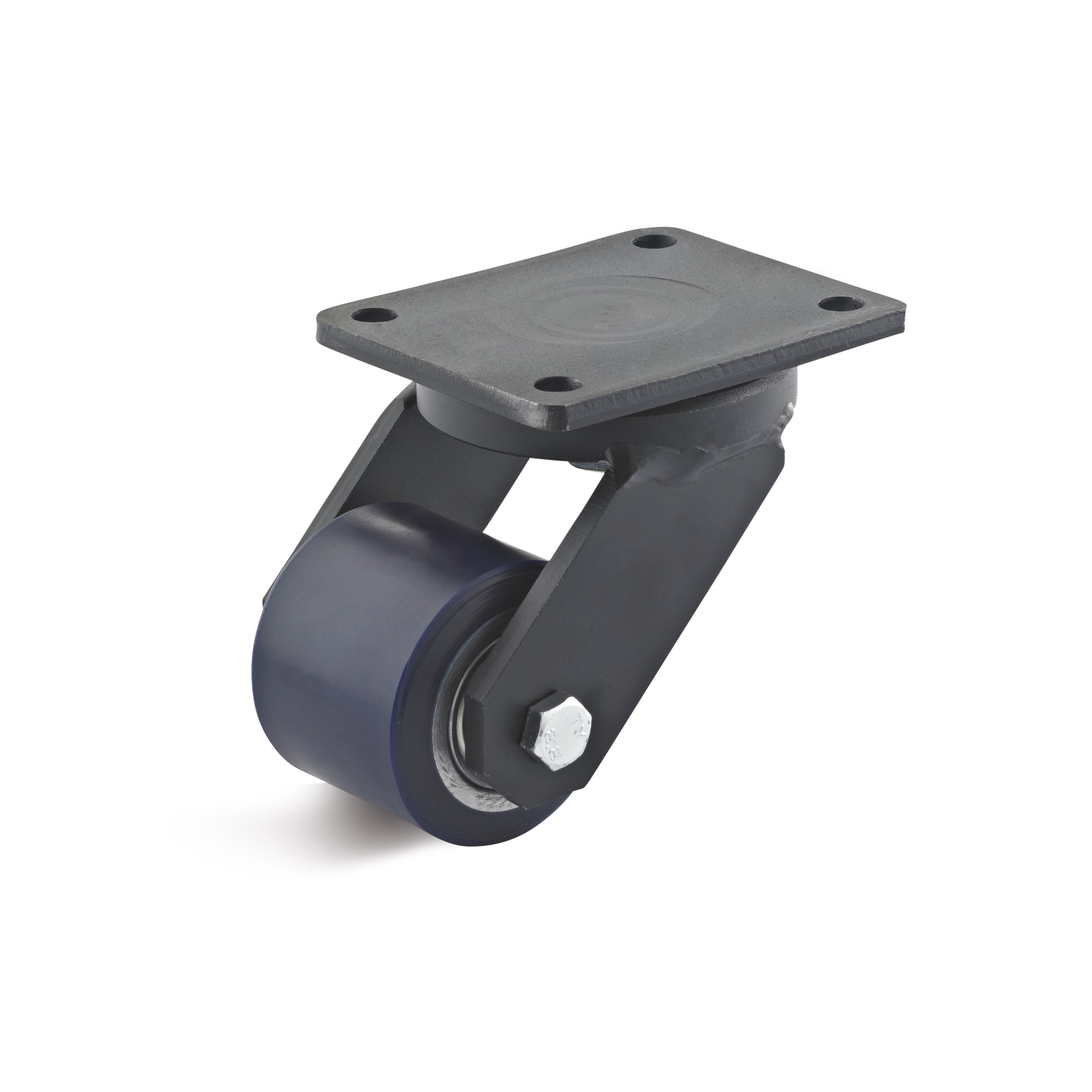 Swivel castor with high load capacity at low height