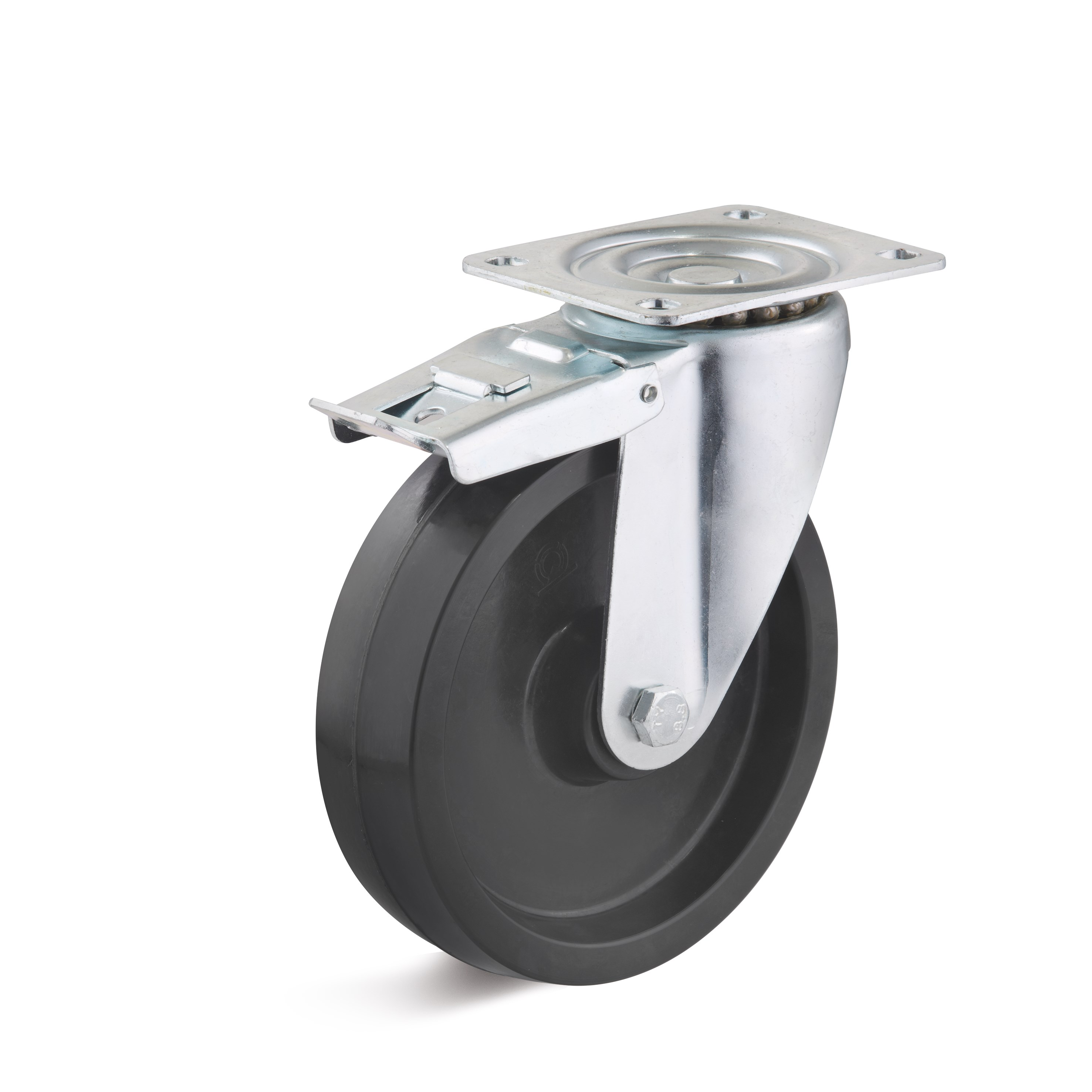 Swivel caster with double stop and heat resistant wheel