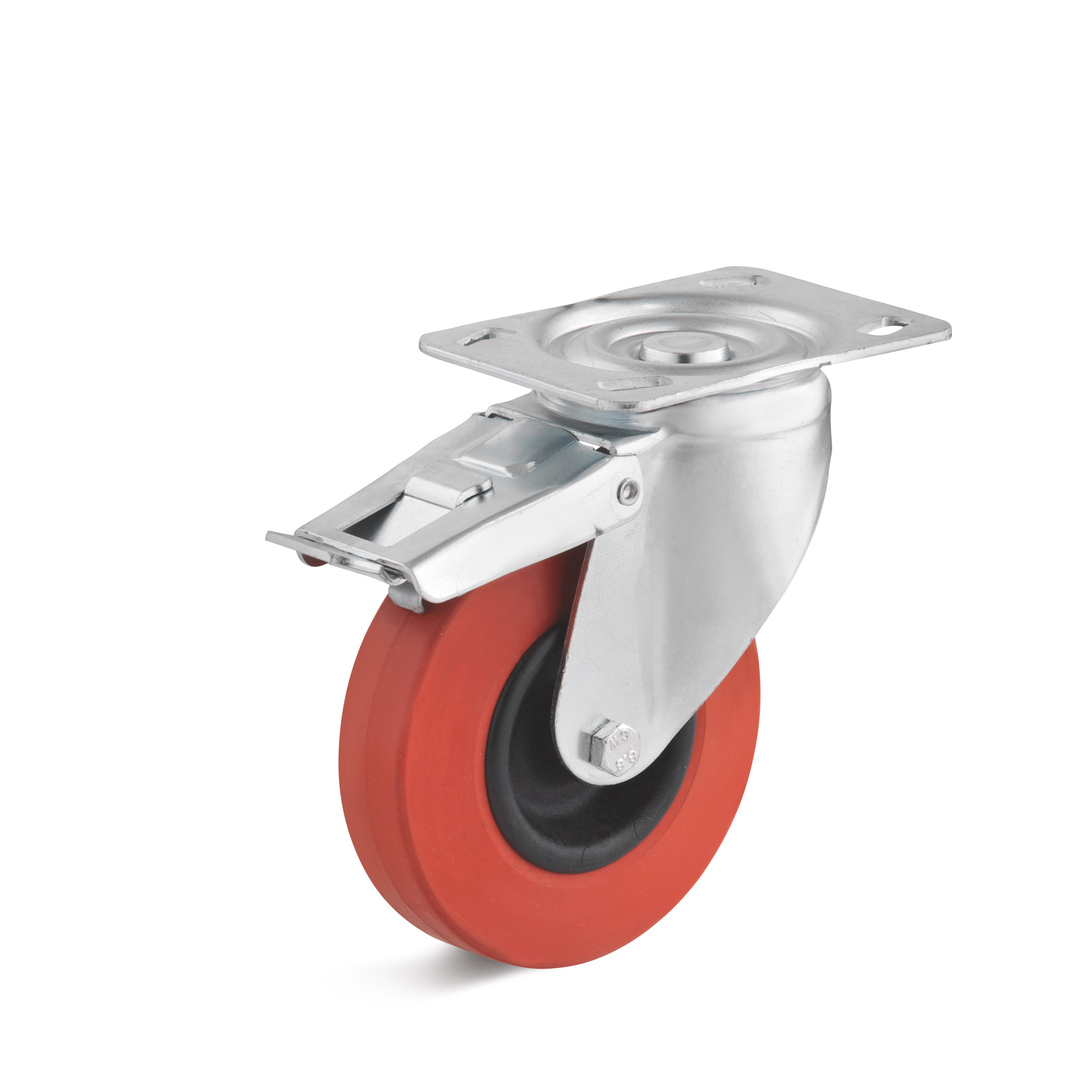 Swivel castor with double stop and heat resistant rubber wheel