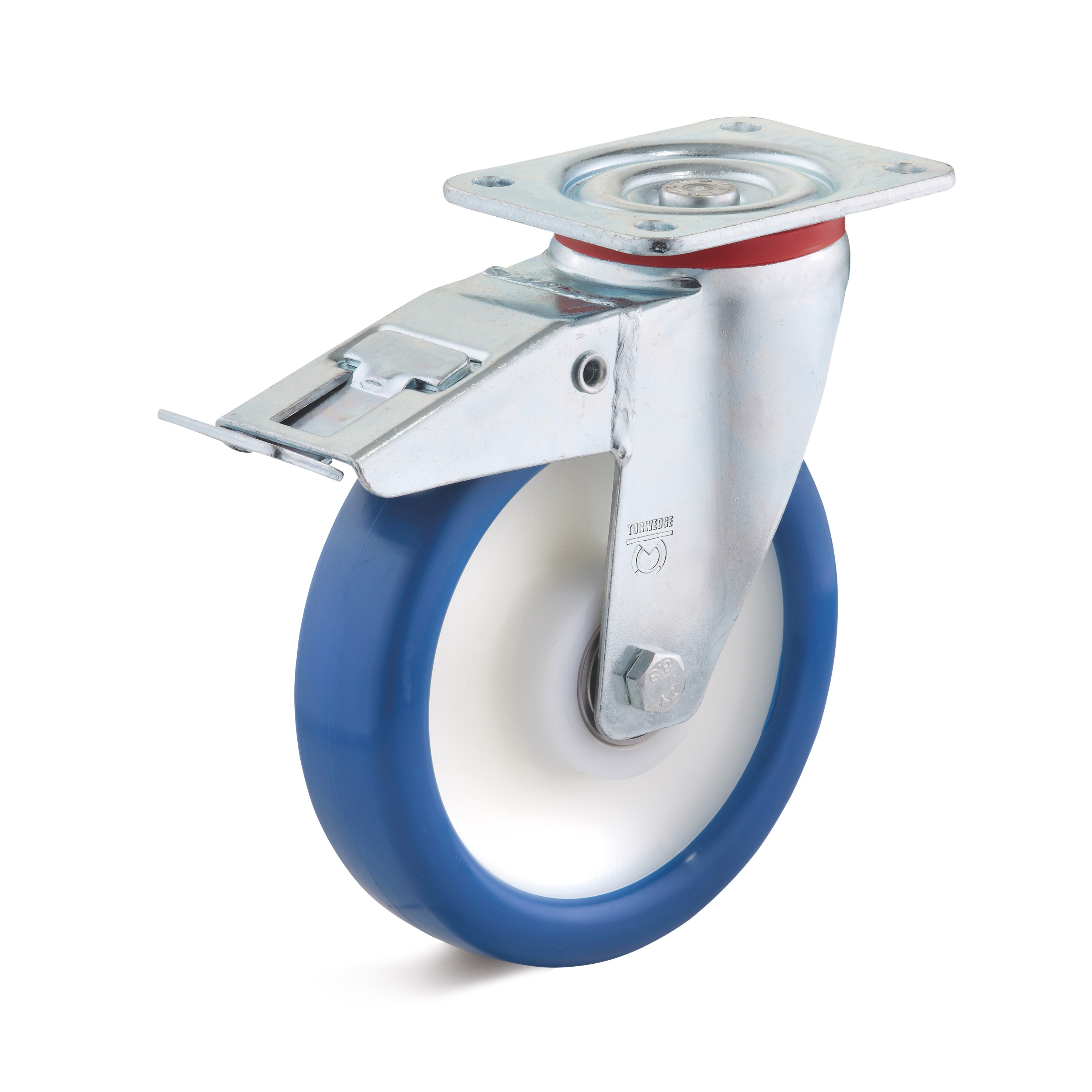 Swivel castor with double stop in the caster and elastic polyurethane wheel