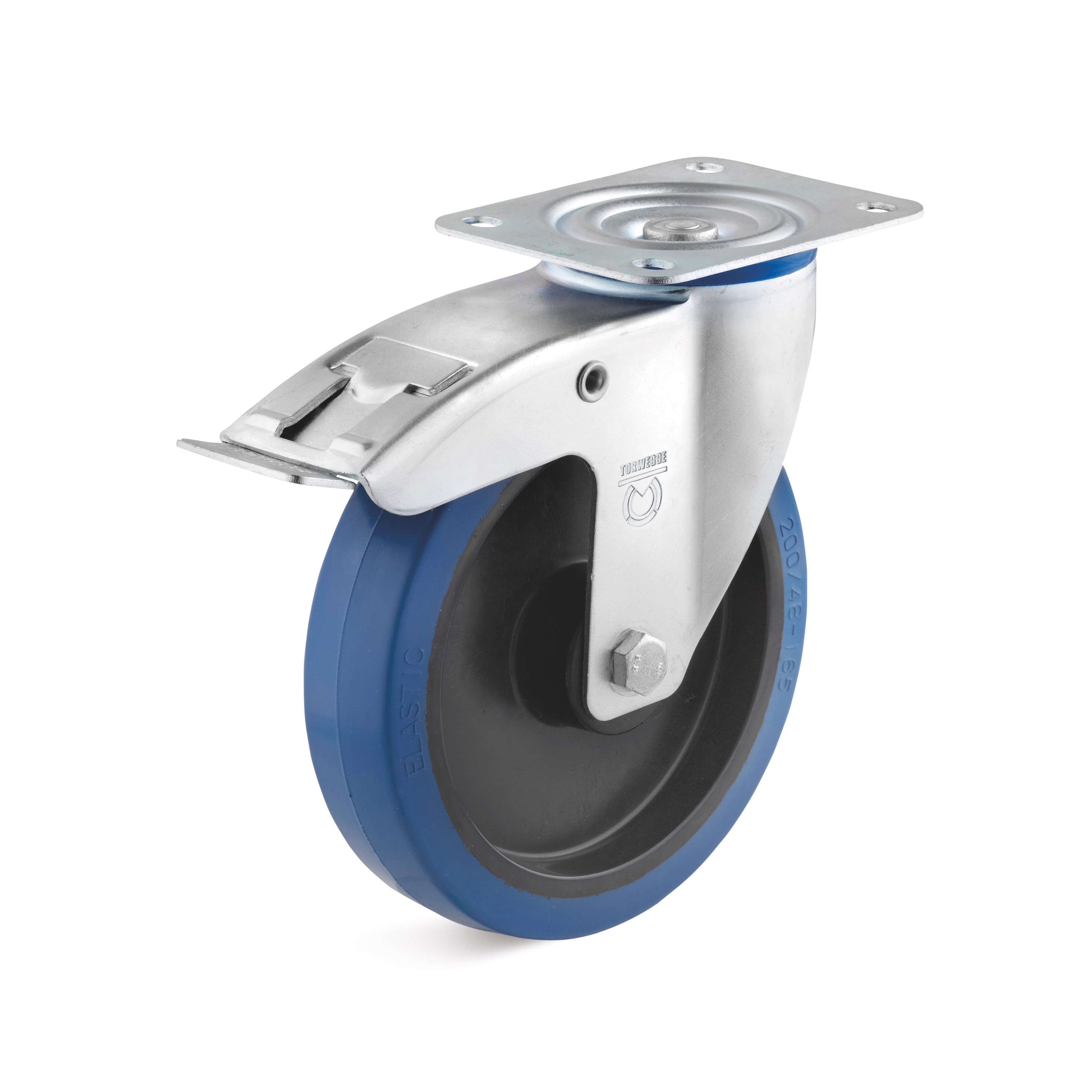 Swivel castor with blue elastic solid rubber wheel and double stop