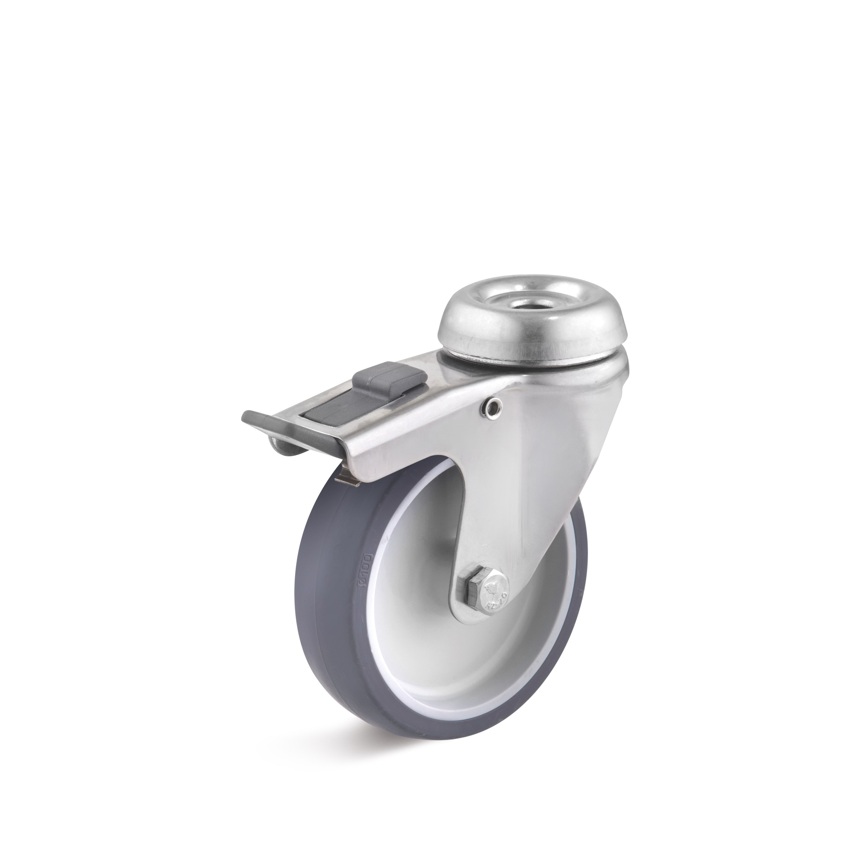 Stainless steel swivel castor with double stop and bolt hole, thermoplastic wheel