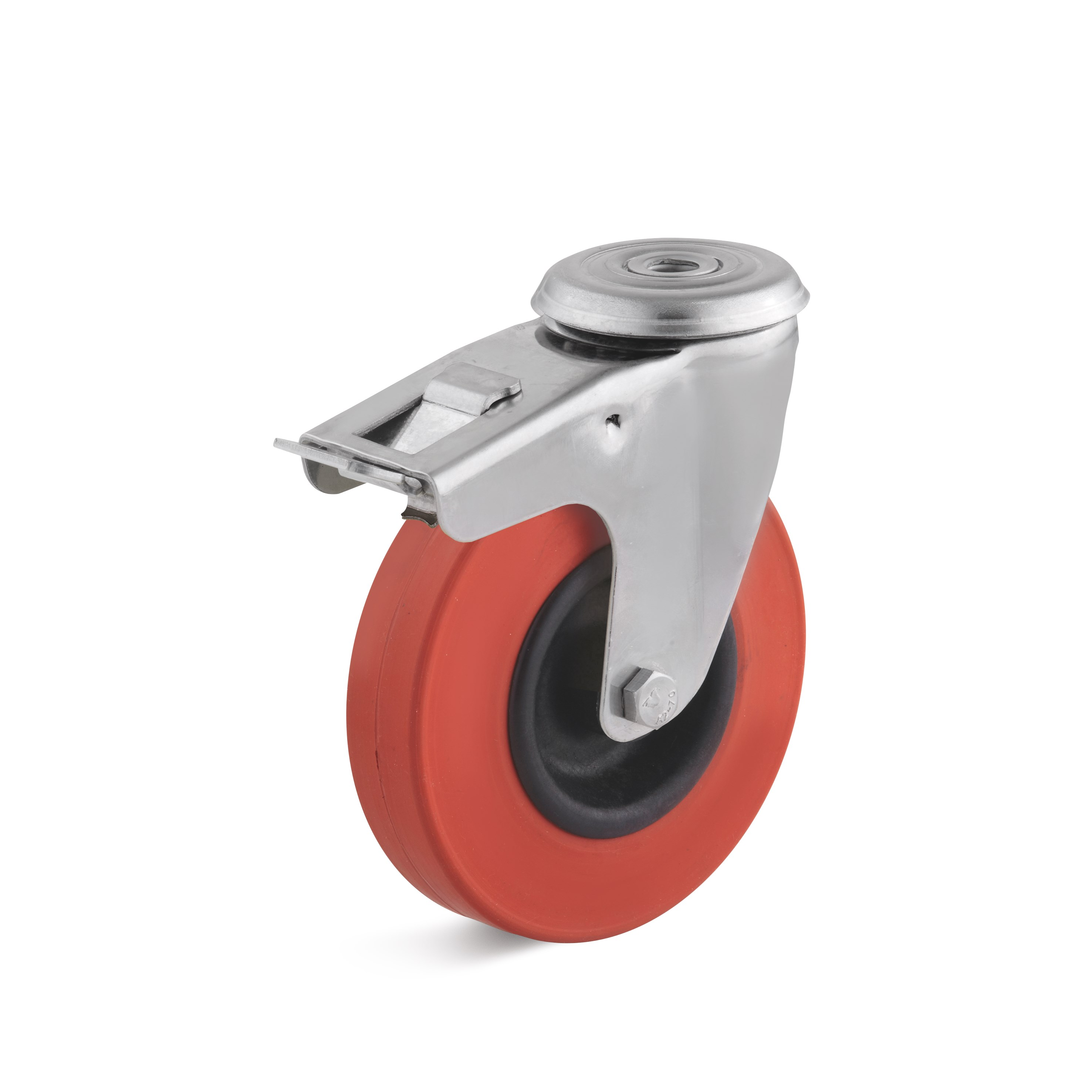 Stainless steel swivel castor with double stop and bolt hole, heat-resistant wheel