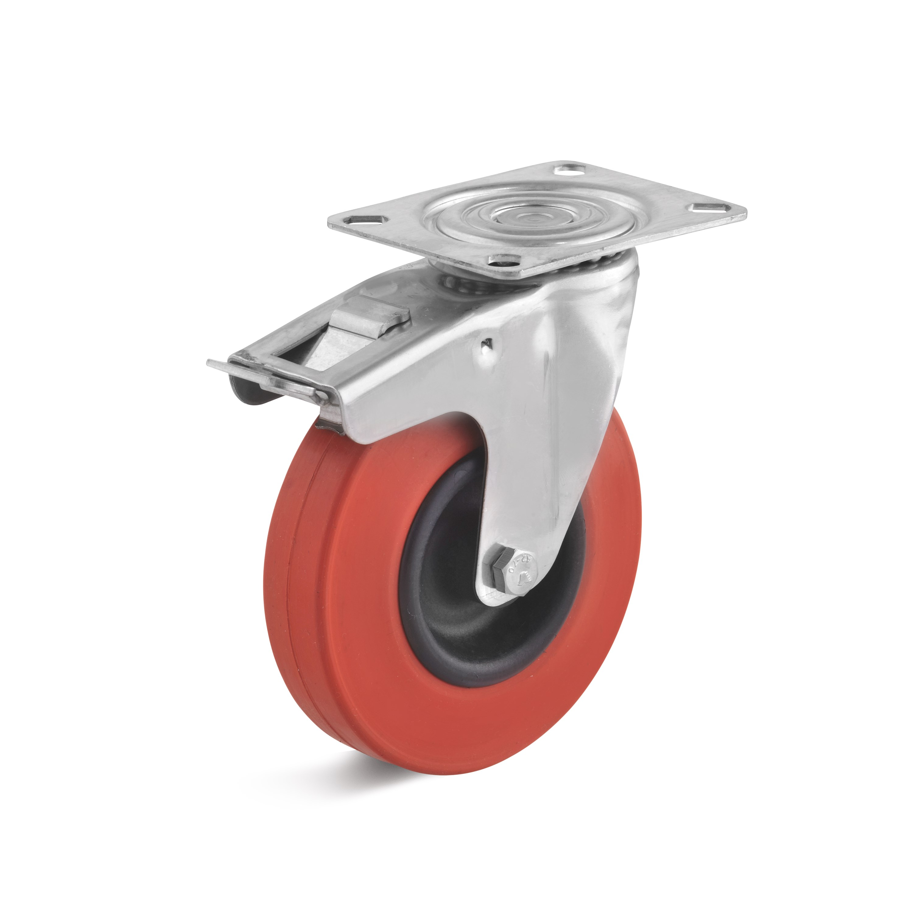 Stainless steel swivel castor with double stop and heat resistant rubber wheel