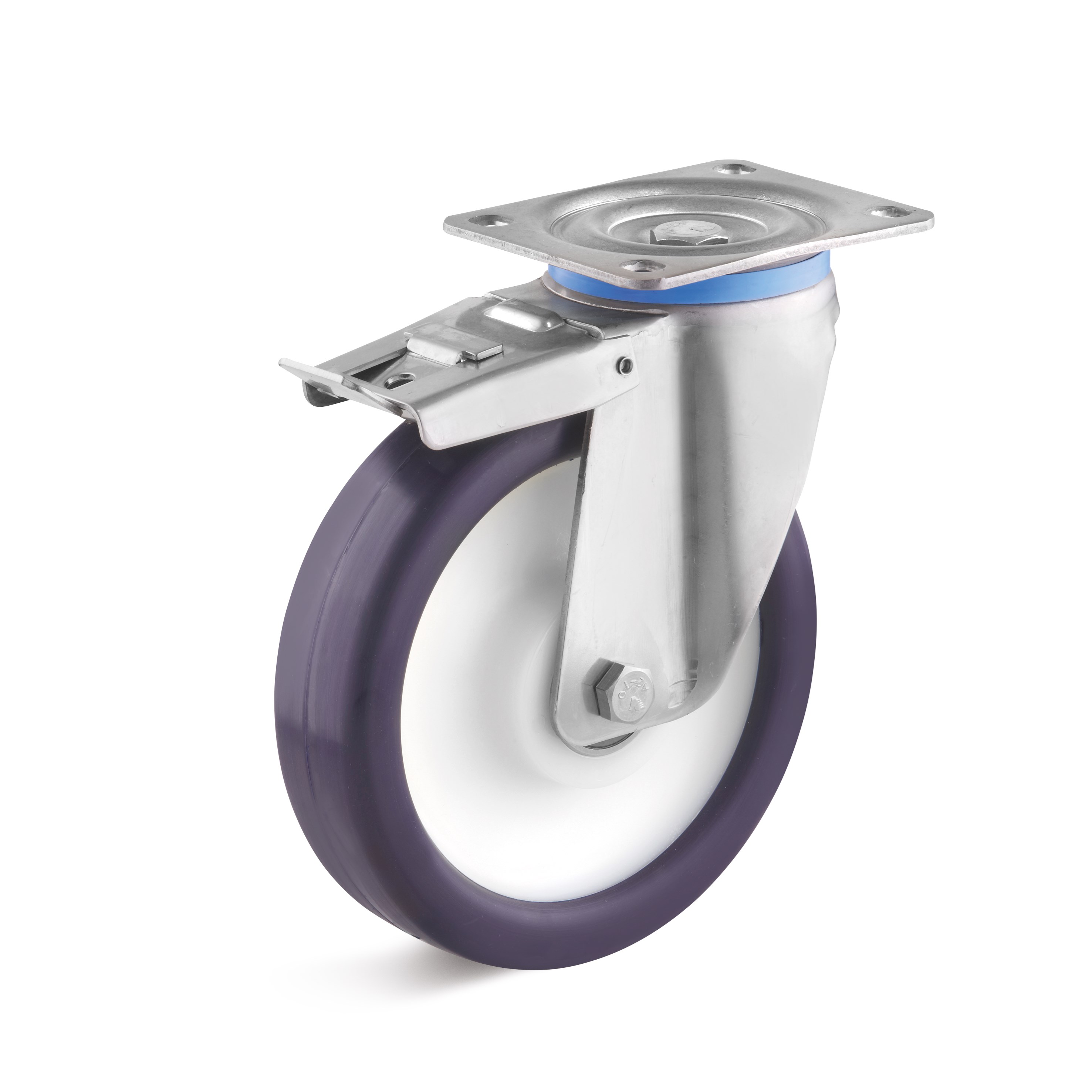 Stainless steel swivel castor with double stop and elastic polyurethane wheel