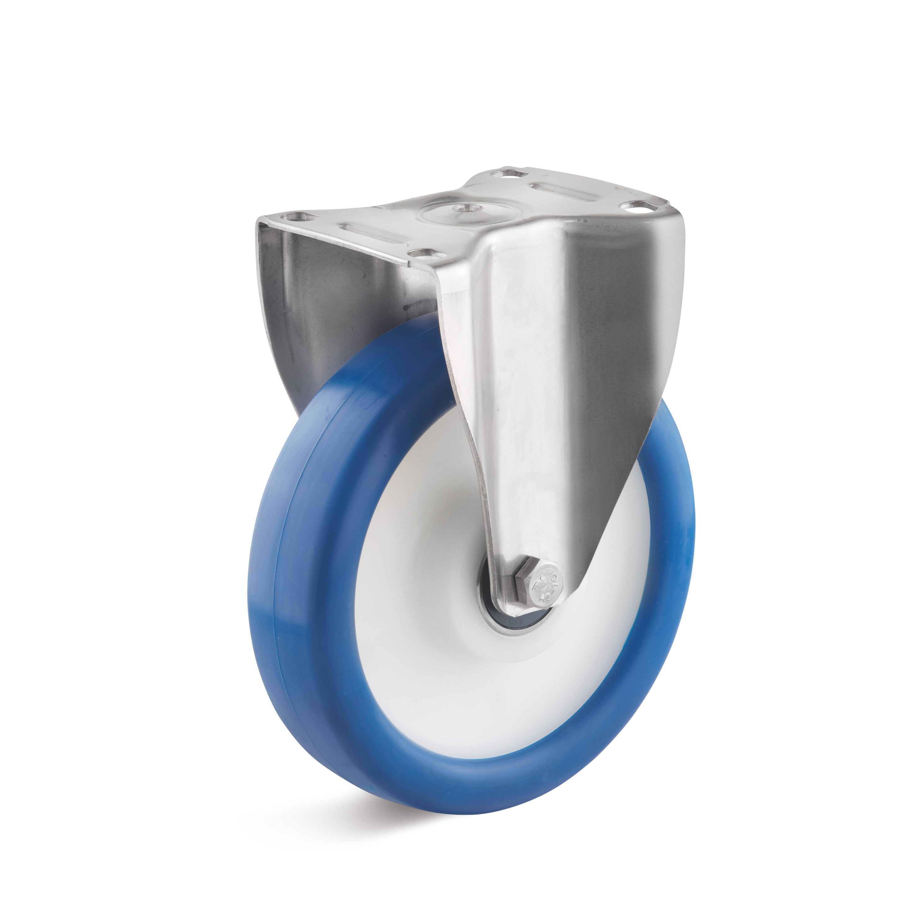 Stainless steel fixed castor with polyurethane wheel, polyamide rim
