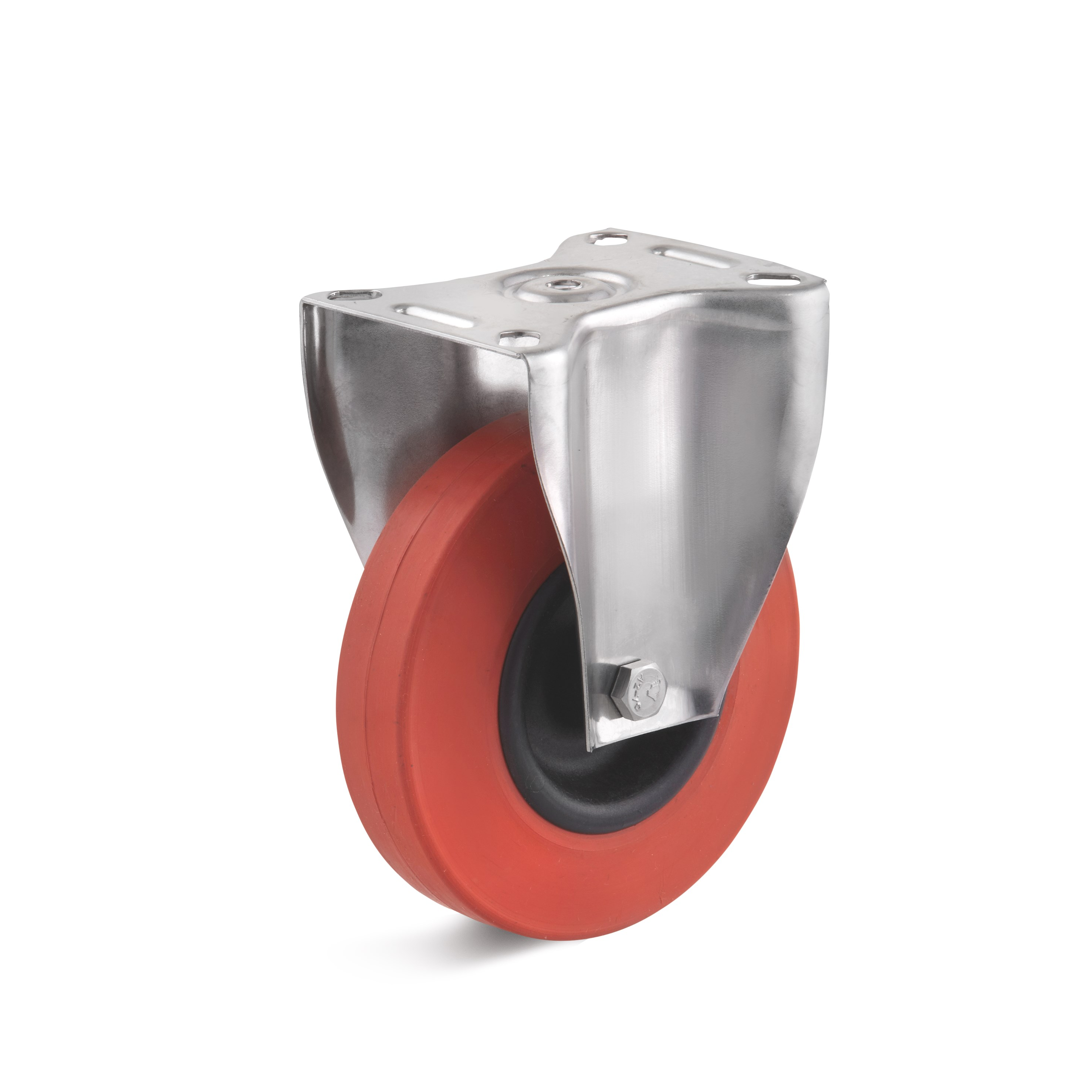 Stainless steel fixed castor with heat-resistant rubber wheel