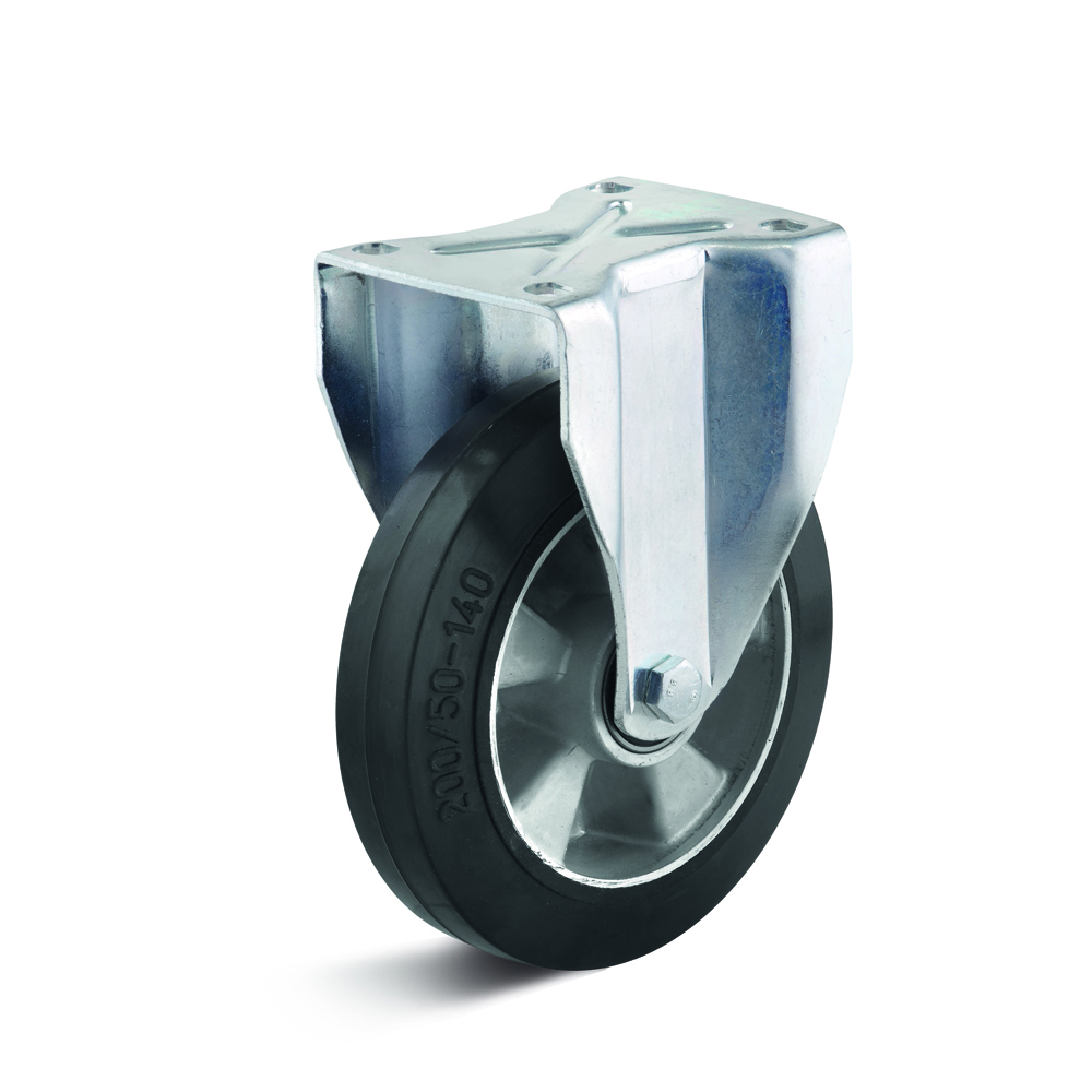 Fixed caster with elastic wheel, alloy rim with ball bearing