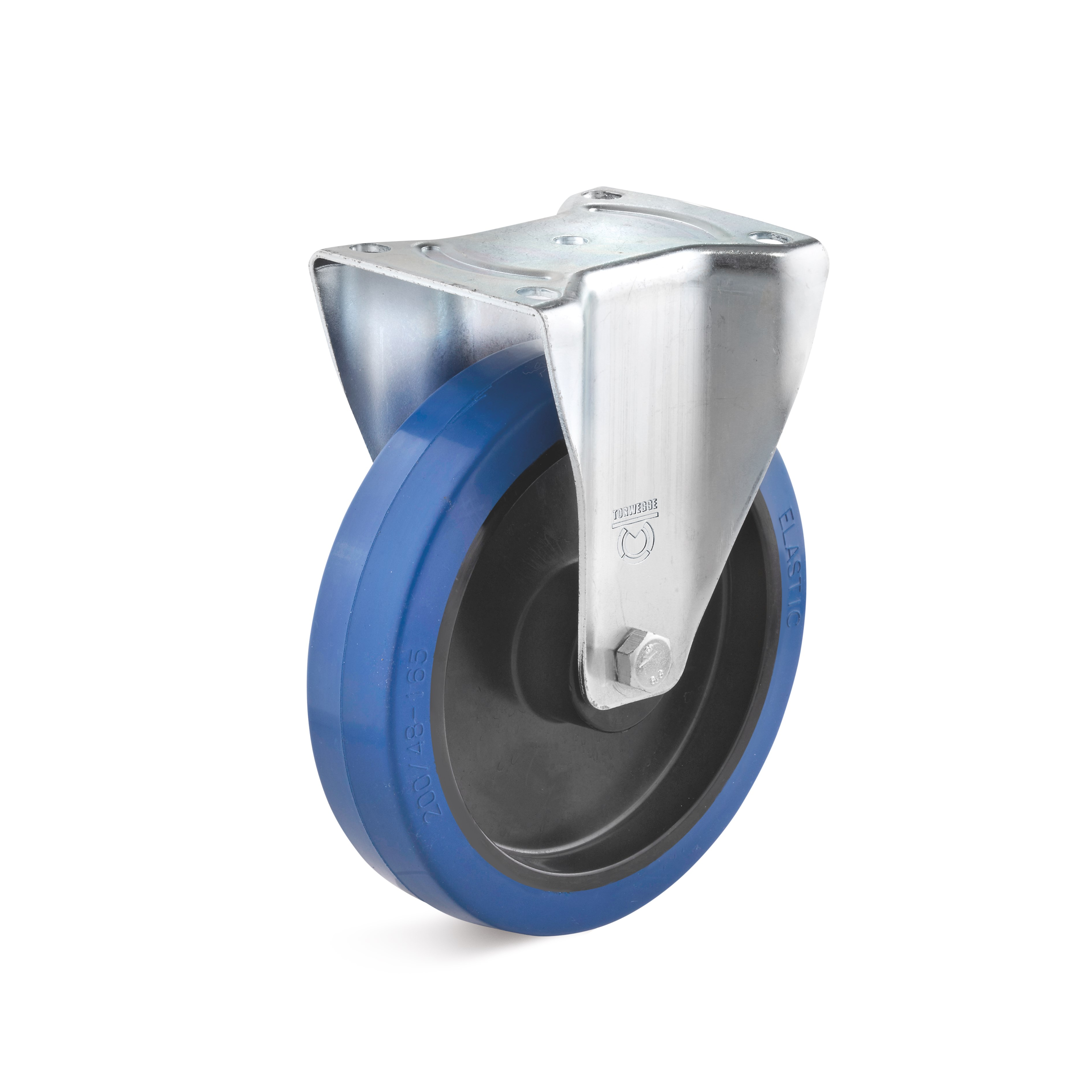 Fixed caster with blue elastic solid rubber wheel, soft tread approx. 65 ° A